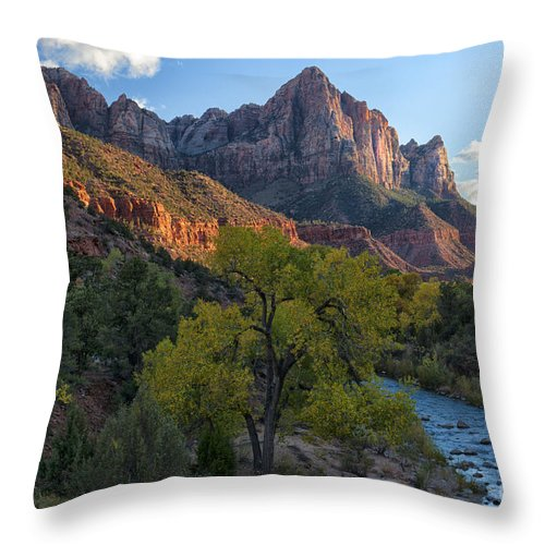 Hdr Throw Pillow featuring the photograph The Watchman And Virgin River by Sandra Bronstein