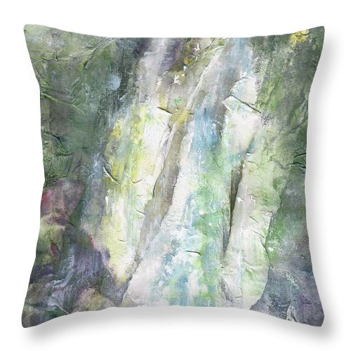 Waterfalls Throw Pillow featuring the painting The Water Falls by Frances Marino