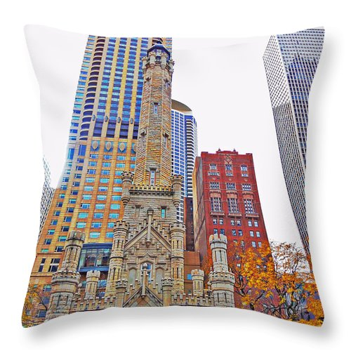 The Contrast Throw Pillow featuring the photograph The Water Tower In Autumn by Mary Machare