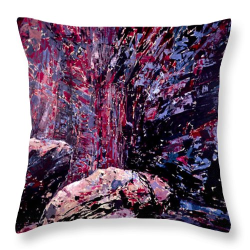 Landscape Throw Pillow featuring the painting The Waterfall by Vladimir Vlahovic