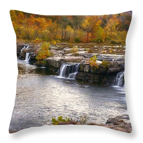 Ann Keisling Throw Pillow featuring the photograph The Waterfalls by Ann Keisling