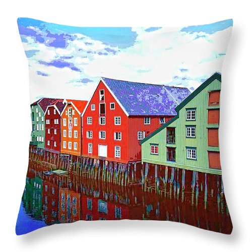 Waterfront Throw Pillow featuring the mixed media The Waterfront by Dominic Piperata