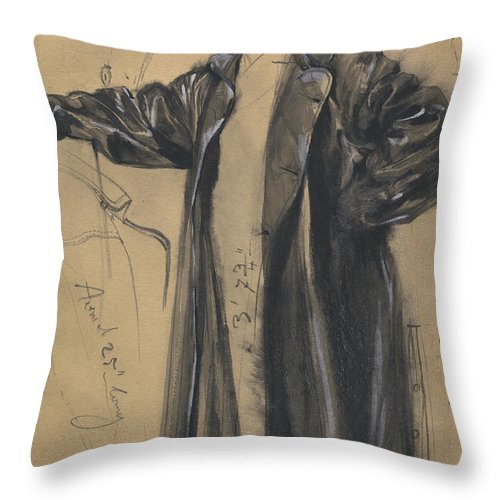 Throw Pillow featuring the drawing The Waterproof Coat Of General Moltke by Adolph Menzel