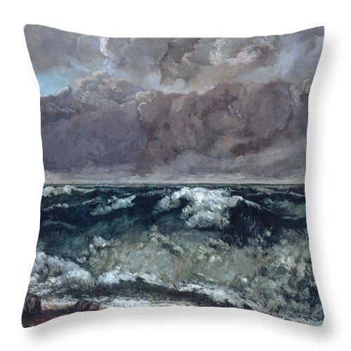 Holiday Throw Pillow featuring the painting The Wave 1867 by Gustave Courbet