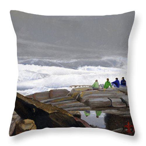 Waves Throw Pillow featuring the painting The Wave Watchers by Dominic White