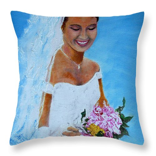 Wedding Throw Pillow featuring the painting the wedding day of my daughter Daniela by Helmut Rottler