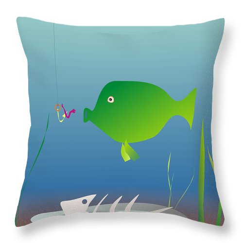 Fish Throw Pillow featuring the digital art The Well-fed Do Not Understand The Hungry by Michal Boubin