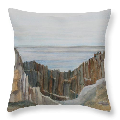 Ocean Throw Pillow featuring the painting The Whale Watchers At Elephant Rock by Jenny Armitage