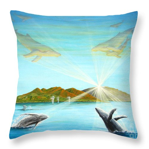 Whales Throw Pillow featuring the painting The Whales Of Maui by Jerome Stumphauzer
