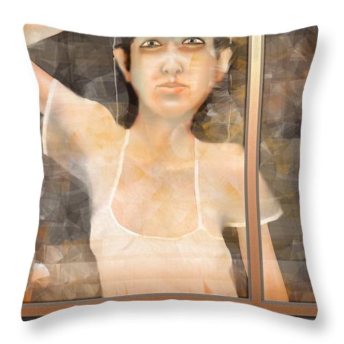 Woman Throw Pillow featuring the digital art The White Dress by Kerry Beverly