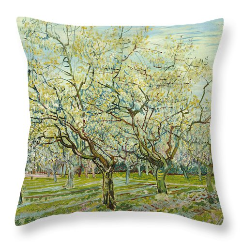 Van Gogh Throw Pillow featuring the painting The White Orchard by Vincent van Gogh