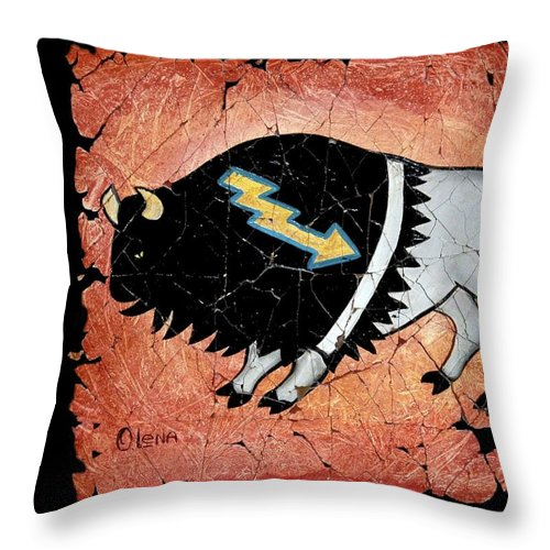 Buffalo Throw Pillow featuring the painting The White Sacred Buffalo Fresco by OLena Art Brand