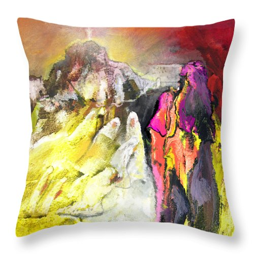 Fantasy Throw Pillow featuring the painting The White Wall by Miki De Goodaboom