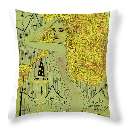 Gustav Klimpt Throw Pillow featuring the mixed media The White Witch by George Vargas