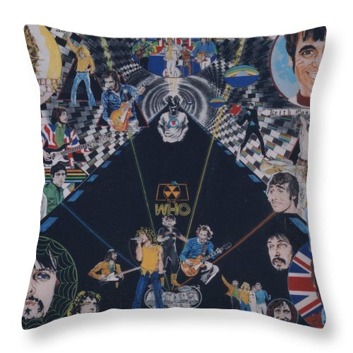 Pete Townshend;roger Daltrey;john Entwistle;keith Moon;quadrophenia;opera;story;four;music;guitars;lasers;mods;rockers;london;brighton;1964 Throw Pillow featuring the drawing The Who - Quadrophenia by Sean Connolly