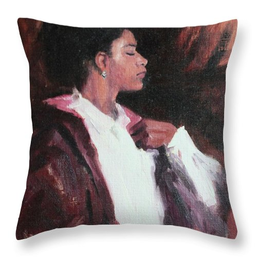 Woman Throw Pillow featuring the painting The Will Of A Woman by Rachel Hames