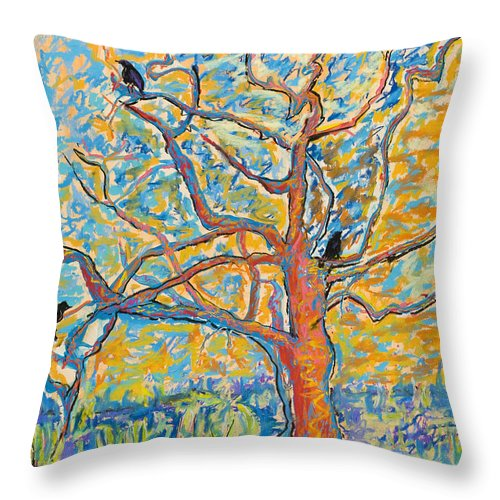 Abstract Painting Throw Pillow featuring the mixed media The Wind Dancers by Pat Saunders-White