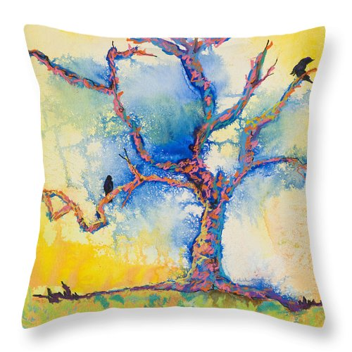 Abstract Painting Throw Pillow featuring the mixed media The Wind Riders by Pat Saunders-White