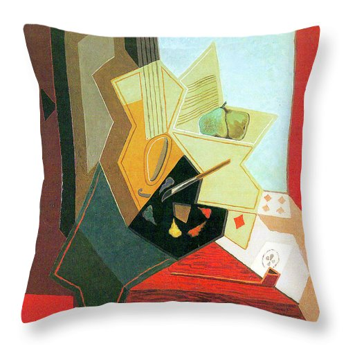 Window Throw Pillow featuring the painting The Window Of The Painter by Juan Gris