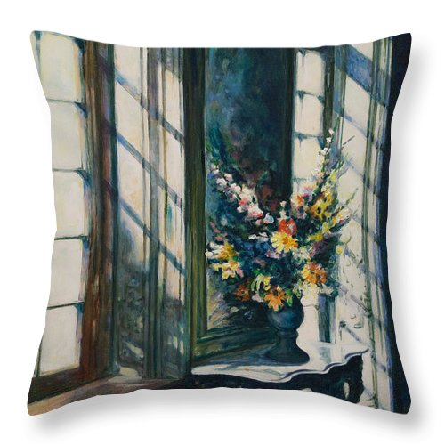 Window Throw Pillow featuring the painting The Window by Rick Nederlof