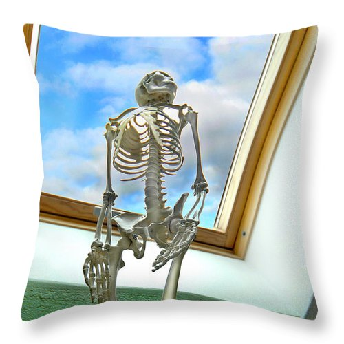 Skeleton Throw Pillow featuring the photograph The Window by Robert Lacy