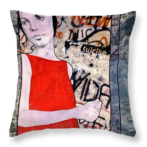 Woman Window Wall Water Blood Life Throw Pillow featuring the mixed media The Window by Veronica Jackson