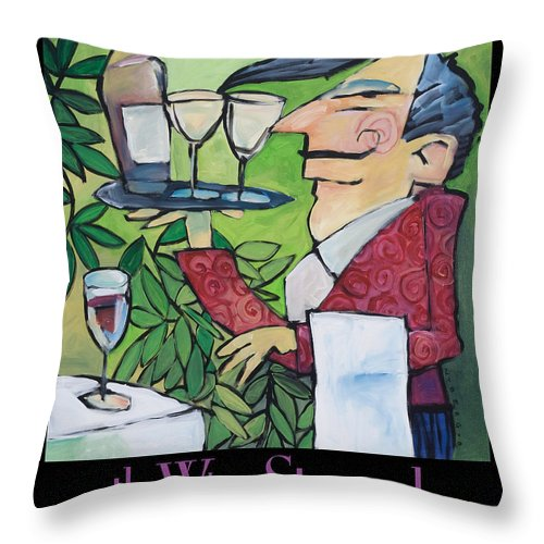 Wine Throw Pillow featuring the painting The Wine Steward - Poster by Tim Nyberg