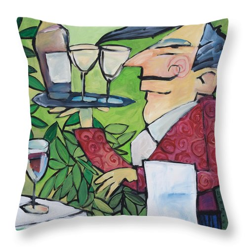 Wine Throw Pillow featuring the painting The Wine Steward by Tim Nyberg