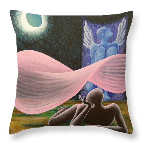 Romantic Throw Pillow featuring the painting The Wings by Raju Bose