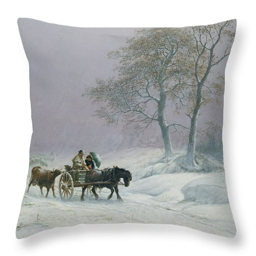 The Throw Pillow featuring the painting The Wintry Road To Market by Thomas Sidney Cooper