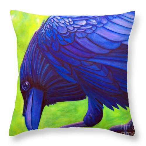 Raven Throw Pillow featuring the painting The Witness by Brian Commerford