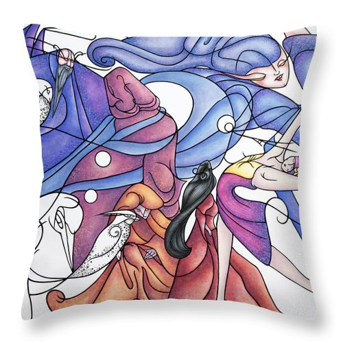 Wizard Throw Pillow featuring the painting The Wizards Daughter by Judy Henninger