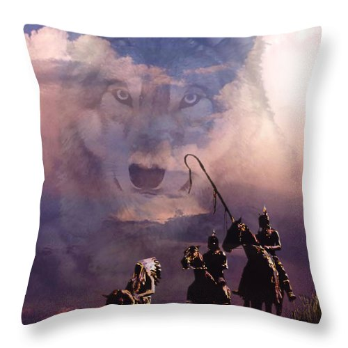 Native Americans Throw Pillow featuring the painting The Wolf by Paul Sachtleben