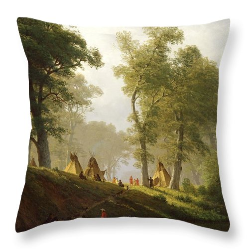 The Throw Pillow featuring the painting The Wolf River - Kansas by Albert Bierstadt