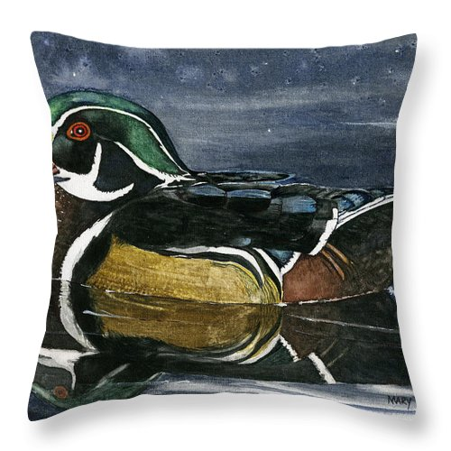 Wood Duck Throw Pillow featuring the painting The Wood Duck by Mary Tuomi
