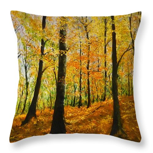 Fall Throw Pillow featuring the painting The Wood For The Trees by Lizzy Forrester