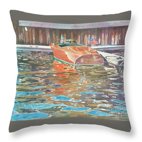 Boats Throw Pillow featuring the painting The Wooden Boat by LeAnne Sowa