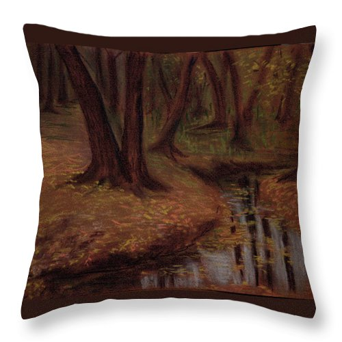 Woods Throw Pillow featuring the pastel The Woods Are Deep And Dark by Asha Sudhaker Shenoy