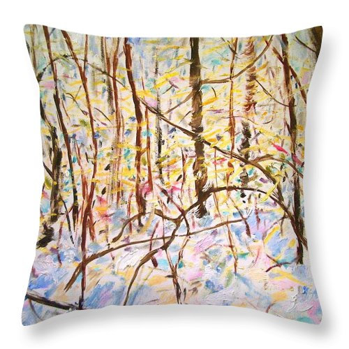 Dornberg Throw Pillow featuring the painting The Woods With Snow by Bob Dornberg
