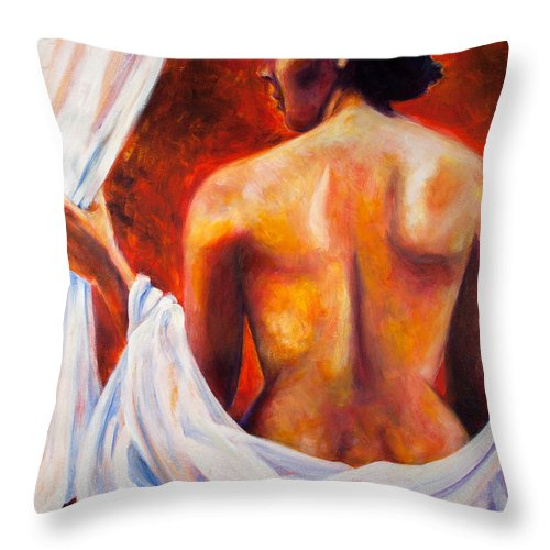 Nude Throw Pillow featuring the painting The World At Bay by Jason Reinhardt