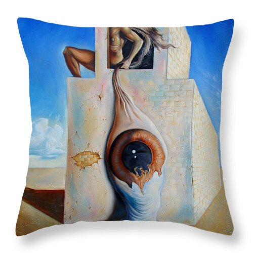Throw Pillow featuring the painting The Worst Blind by Darwin Leon