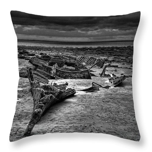 Trawler Throw Pillow featuring the photograph The Wreck Of The Steam Trawler by John Edwards