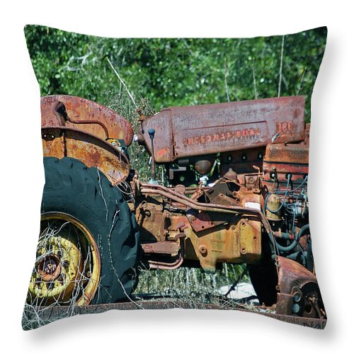 Tractor Throw Pillow featuring the digital art The Wrong Side Of The Tracks by DigiArt Diaries by Vicky B Fuller