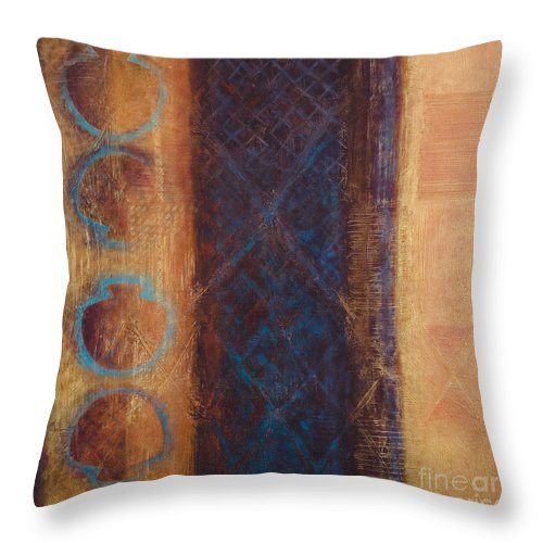 Abstract Throw Pillow featuring the painting The X Factor Alchemy Of Consciousness by Kerryn Madsen-Pietsch