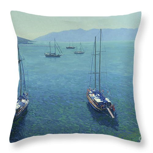 Yachts Throw Pillow featuring the painting The Yachts by Simon Kozhin
