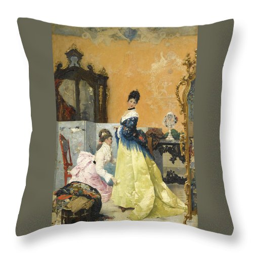Vincente Capobianchi Throw Pillow featuring the painting The Yellow Dress by Vincente Capobianchi
