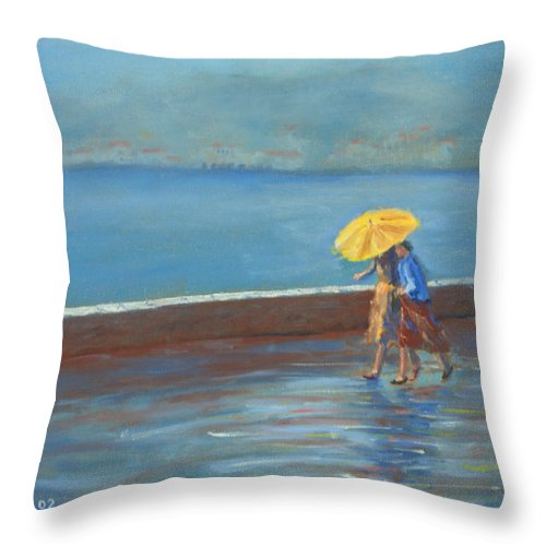 Rain Throw Pillow featuring the painting The Yellow Umbrella by Jerry McElroy