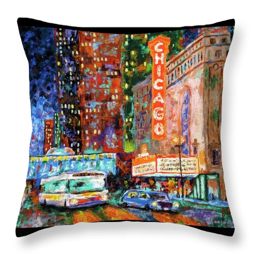 Chicago Theater Throw Pillow featuring the painting Theater Night by J Loren Reedy