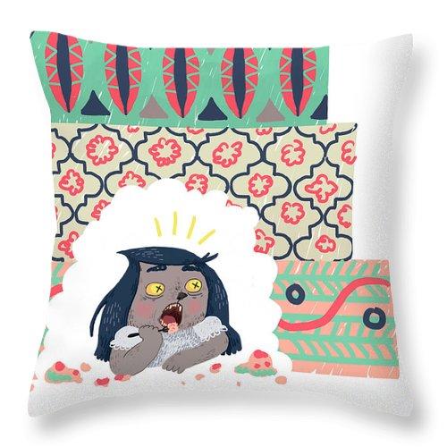Portrait Throw Pillow featuring the digital art Their Cake by Valeria Strygina