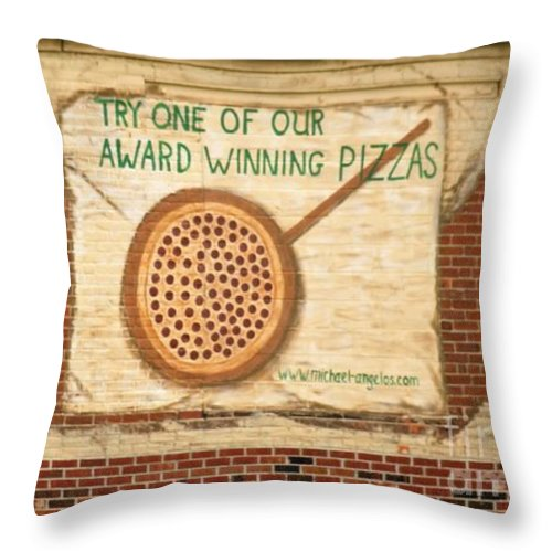 Buildings Throw Pillow featuring the photograph Their Pizza Is A Work Of Art by Judy Carr